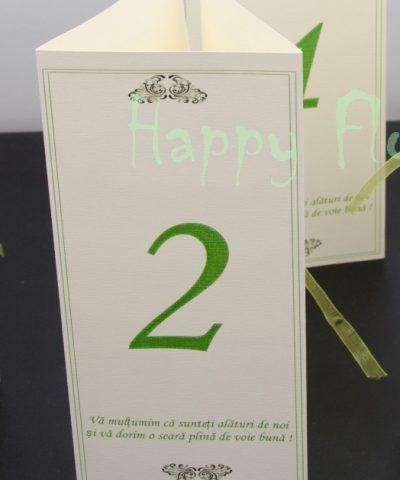Meniu nunta triunghi + numar masa Green Trick