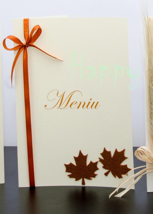 Meniu nunta toamna Dark Brown Leaf