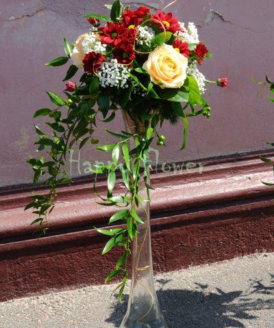 Aranjament nunta trandafiri piersica si crizanteme grena, floarea miresei