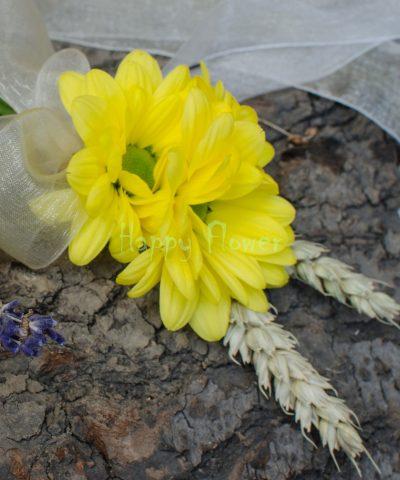 Cocarda crizanteme galbene si spice de grau