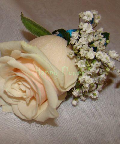 Cocarda mire trandafir crem si floarea miresei