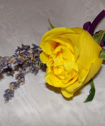 Cocarda trandafir galben si levantica