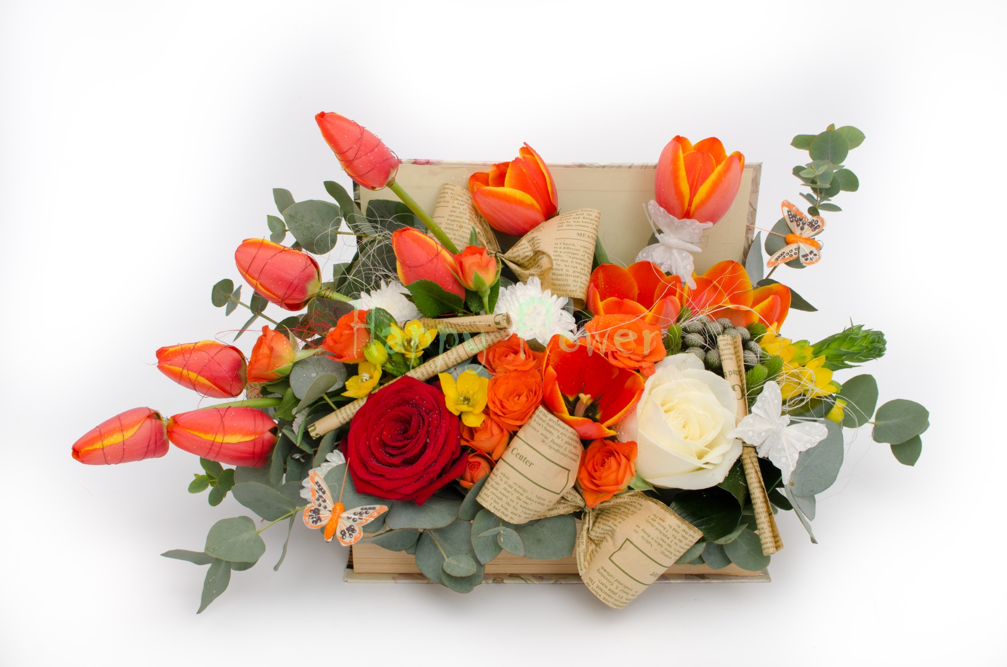 Aranjament Floral In Carte Cu Lalele Portocalii Si Trandafiri