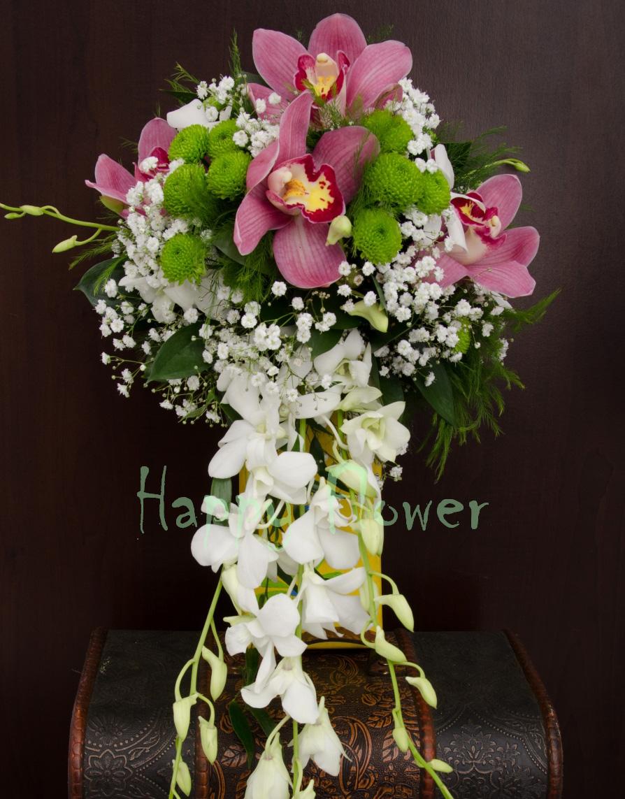 Buchet Mireasa Curgator Din Orhidee Cymbidium Roz Orhidee