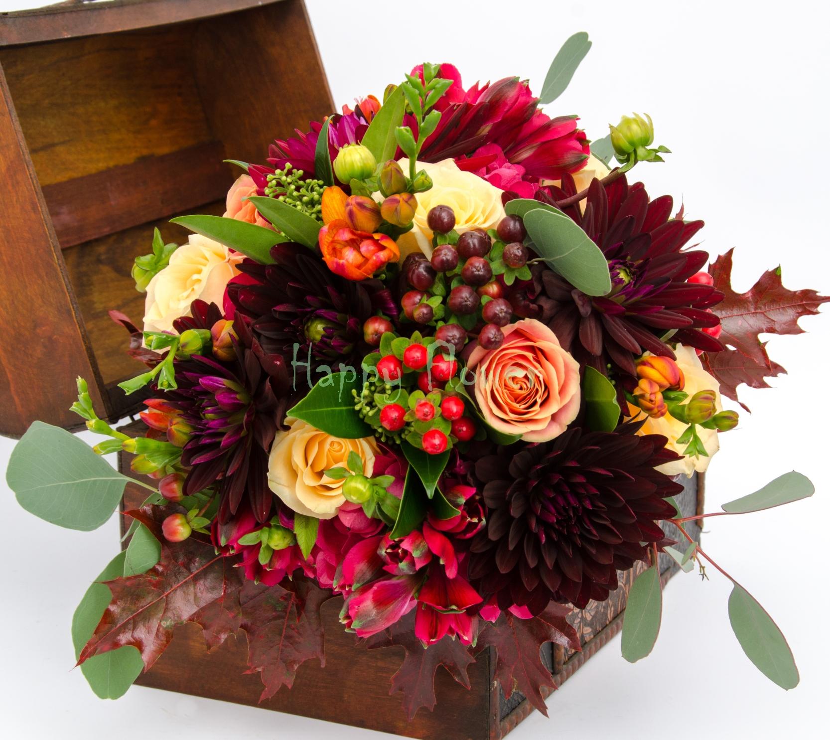 Buchet Mireasa Toamna Burgundy Happy Flower Florarie Online