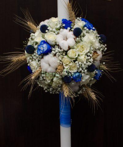 Lumanare botez cu bumbac, miniroze, spice de grau si floarea miresei
