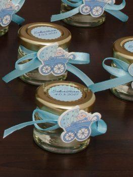 Marturie botez borcan miere carucior bleu