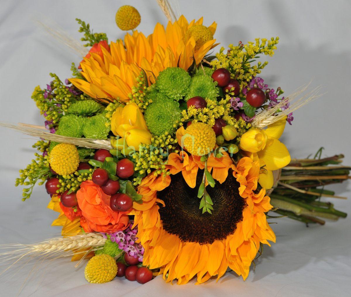 Buchet floarea soarelui si flori de camp