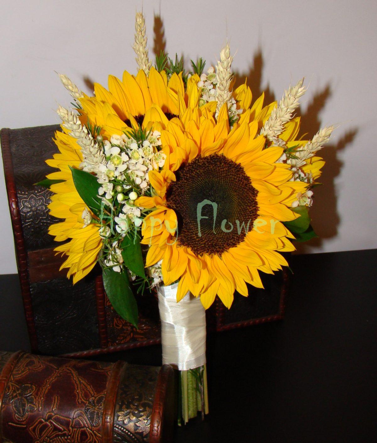Buchet mireasa floarea soarelui, waxflower, spice de grau