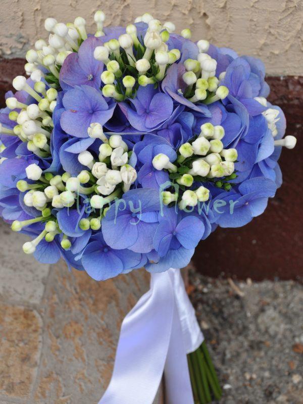 Buchet mireasa hortensii albastre si bouvardia alba