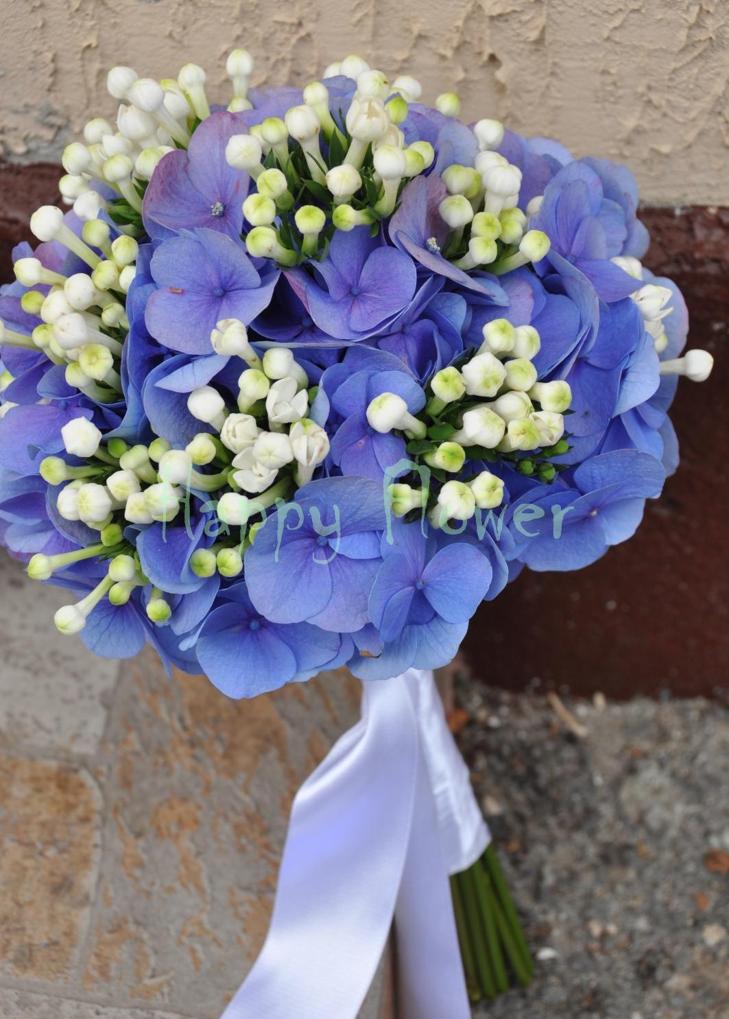 Buchet Mireasa Hortensii Albastre Si Bouvardia Alba Happy Flower