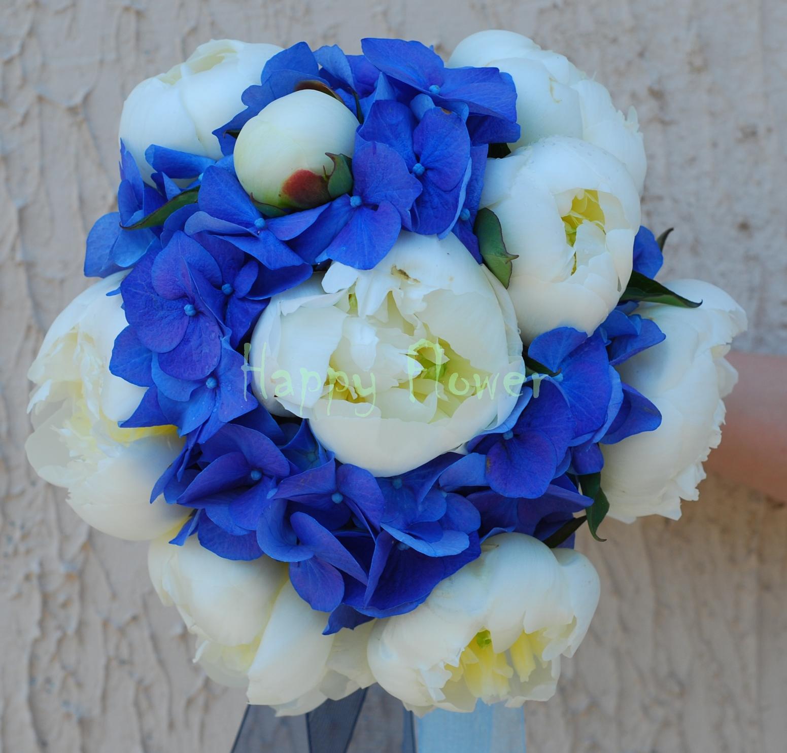 Buchet Mireasa Hortensie Albastra Si Bujori Albi Happy Flower