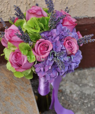 Buchet mireasa sau nasa hortensii mov, hortensii verzi si trandafiri mov