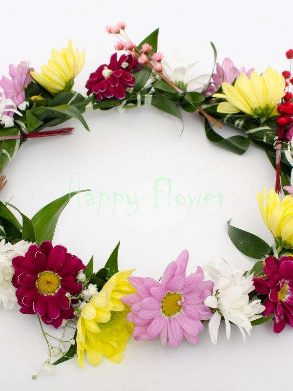 Coronita flori naturale crizanteme colorate