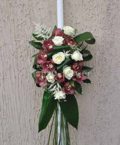 Lumanari cununie orhidee cymbidium grena si trandafiri albi