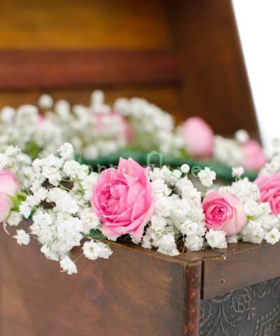 Coronita floarea miresei si miniroze roz