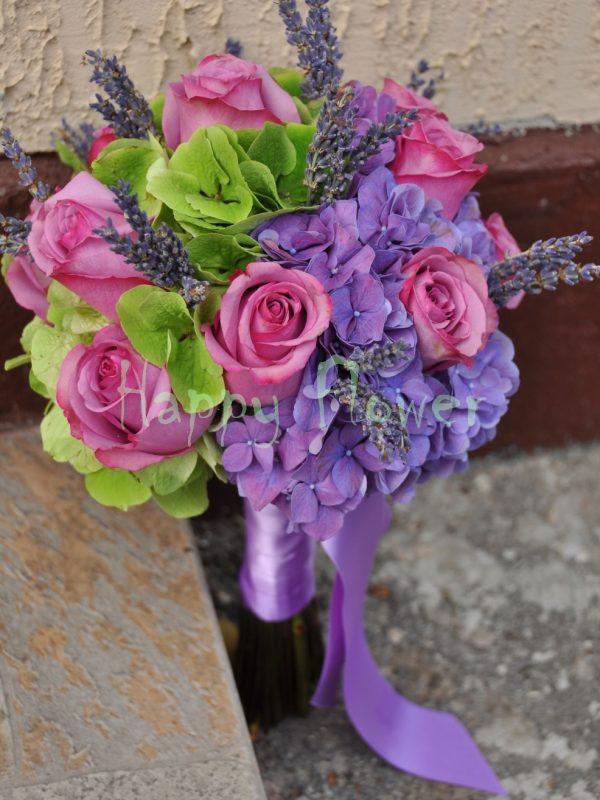 Buchet mireasa sau nasa hortensii si trandafiri