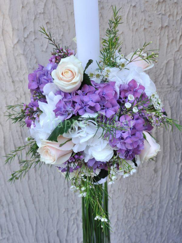 Lumanare cununie hortensii albe, hortensii mov, trandafiri crem