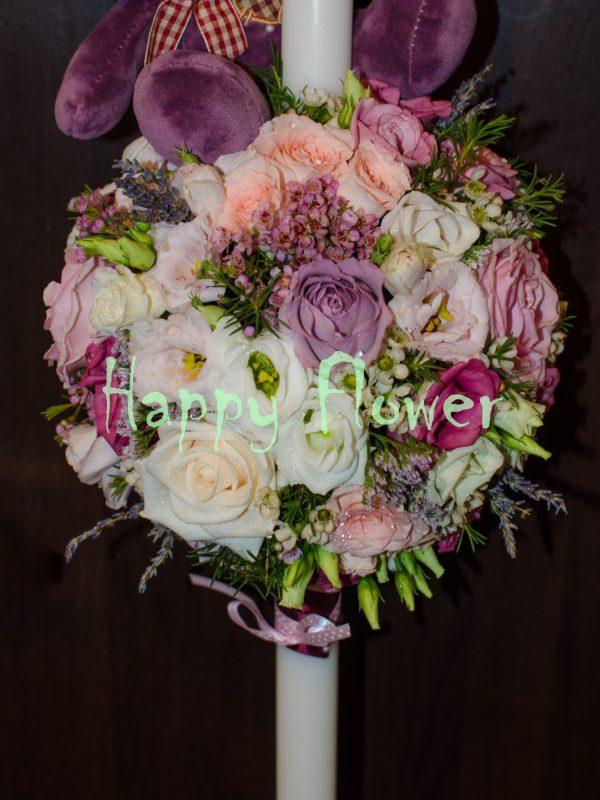 Lumanare botez fetita trandafiri roz pal, trandafiri mov, miniroze, lisianthus