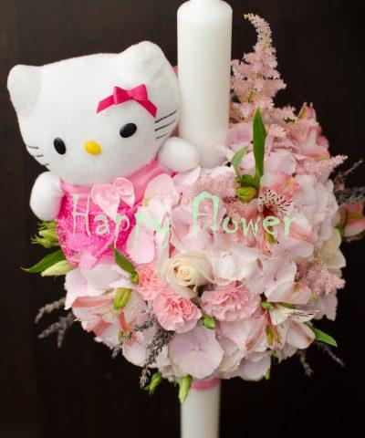Lumanare botez cu pisicuta Hello Kitty, hortensii roza pal, astilbe, miniroze, levantica