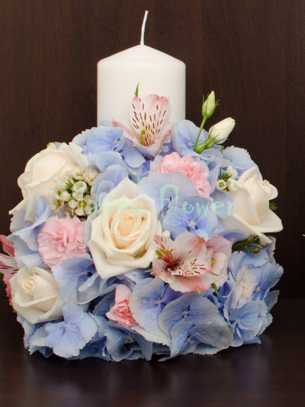 Lumanare scurta hortensii bleu si flori pastel