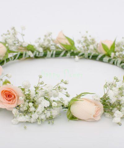 Coronita flori naturale miniroze pastel si floarea miresei