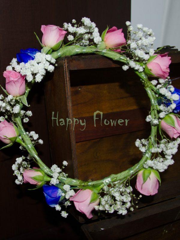 Coronita flori naturale miniroze roz si albastre, floarea miresei