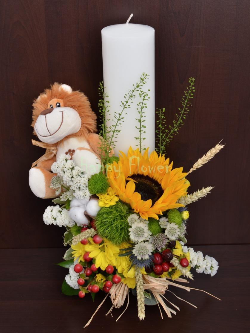Lumanare Botez 40 Cm Cu Flori De Camp Si Leu Din Plus Happy Flower