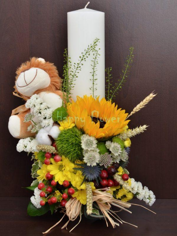 Lumanare botez 40 cm cu flori de camp si leu din plus