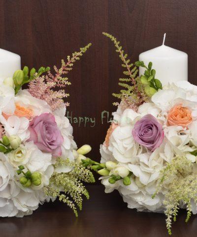 Lumanare scurta pastel, hortensii, trandafiri, astilbe, frezii