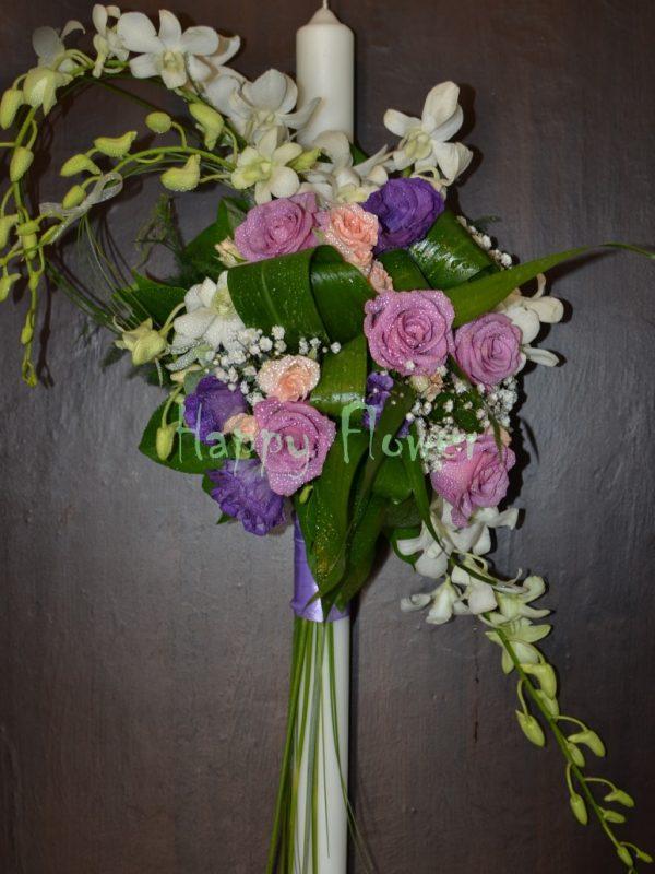 Lumanare nunta trandafiri mov si orhidee alba, lisianthus, miniroze