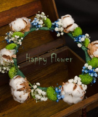 Coronita-bumbac-santini-verde-floarea-miresei