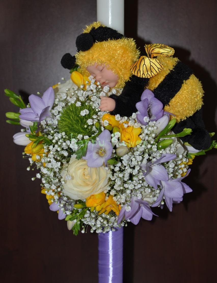 Lumanare Botez Cu Papusa Anne Geddes Happy Flower Florarie Online