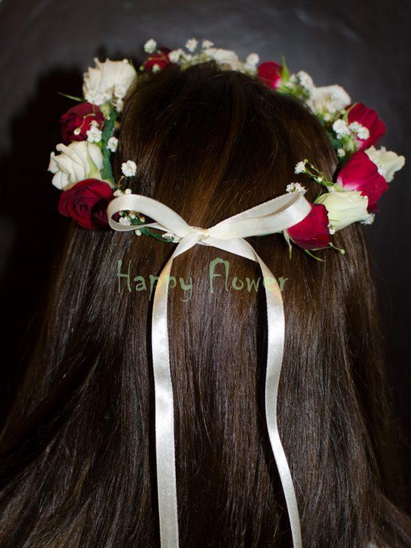 Coronita flori naturale miniroze albe si grena, floarea miresei