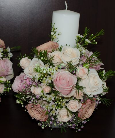 Lumanare cununie 30 cm din trandafiri pastel, miniroze, waxflower