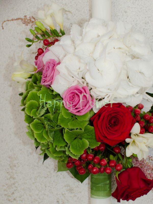 Lumanare cununie 60 cm, pe o parte, din hortensii, trandafiri si frezii