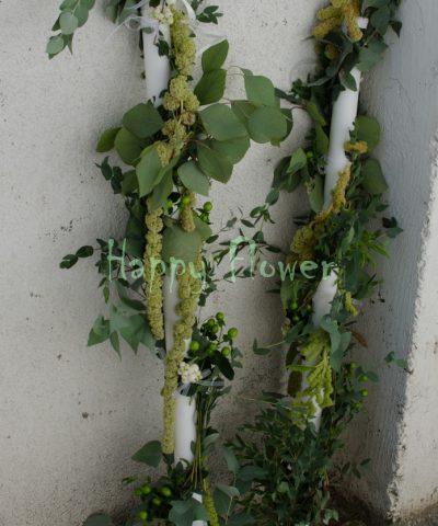 Lumanari cununie spirala, crengi maslin, Eucalipt Populus si Eucalipt Parvifolia, Amaranthus, Hypericum verde