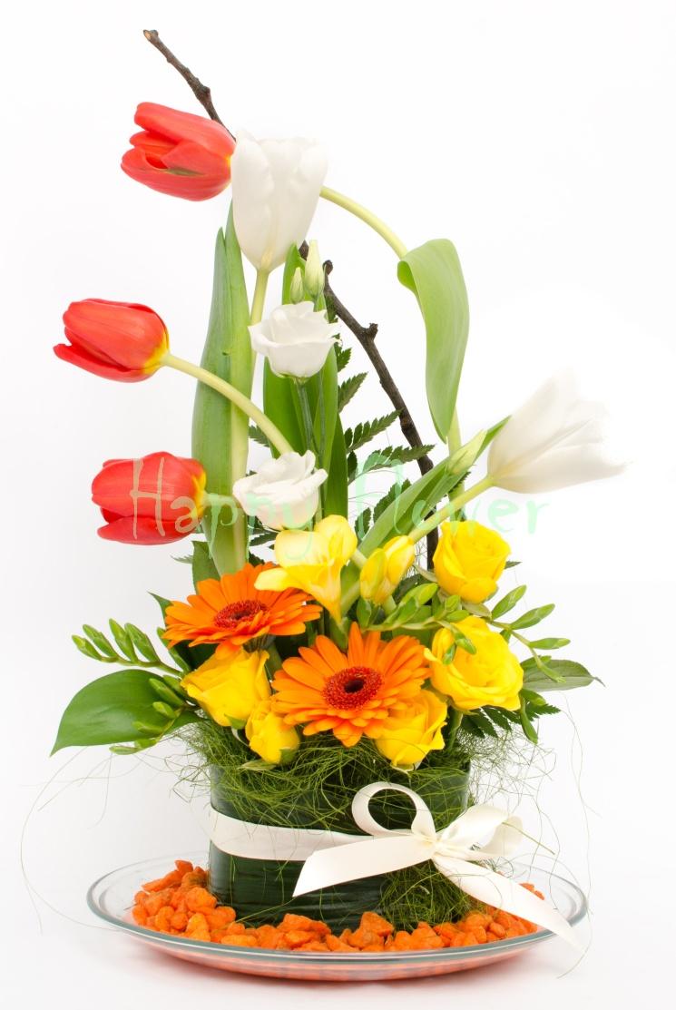 Aranjament Floral Colorat Primavara Lalele Frezii Minigerbera