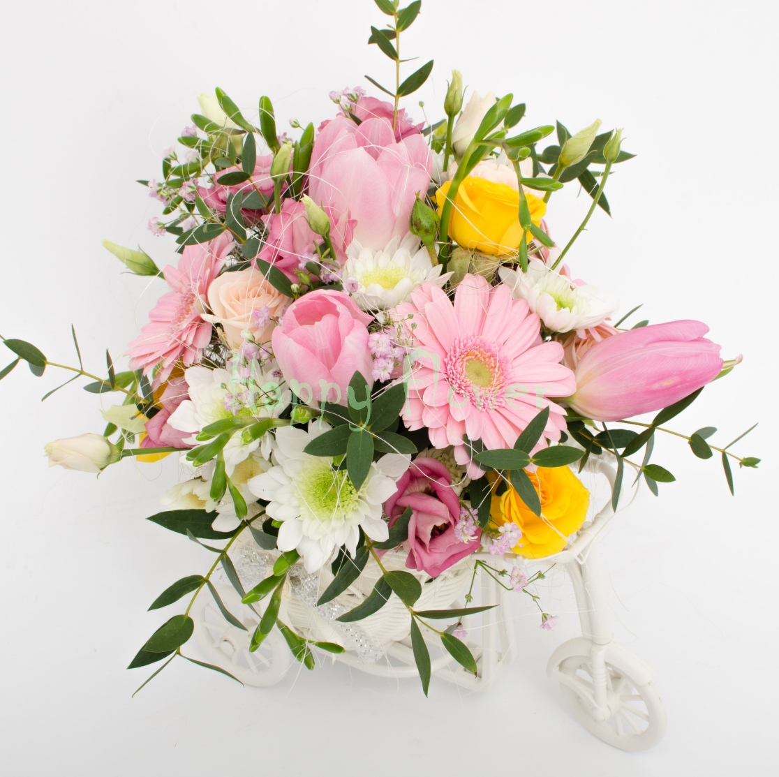 Tricicleta-flori-primavara-lalele-lisiantus-minigerbera-miniroze