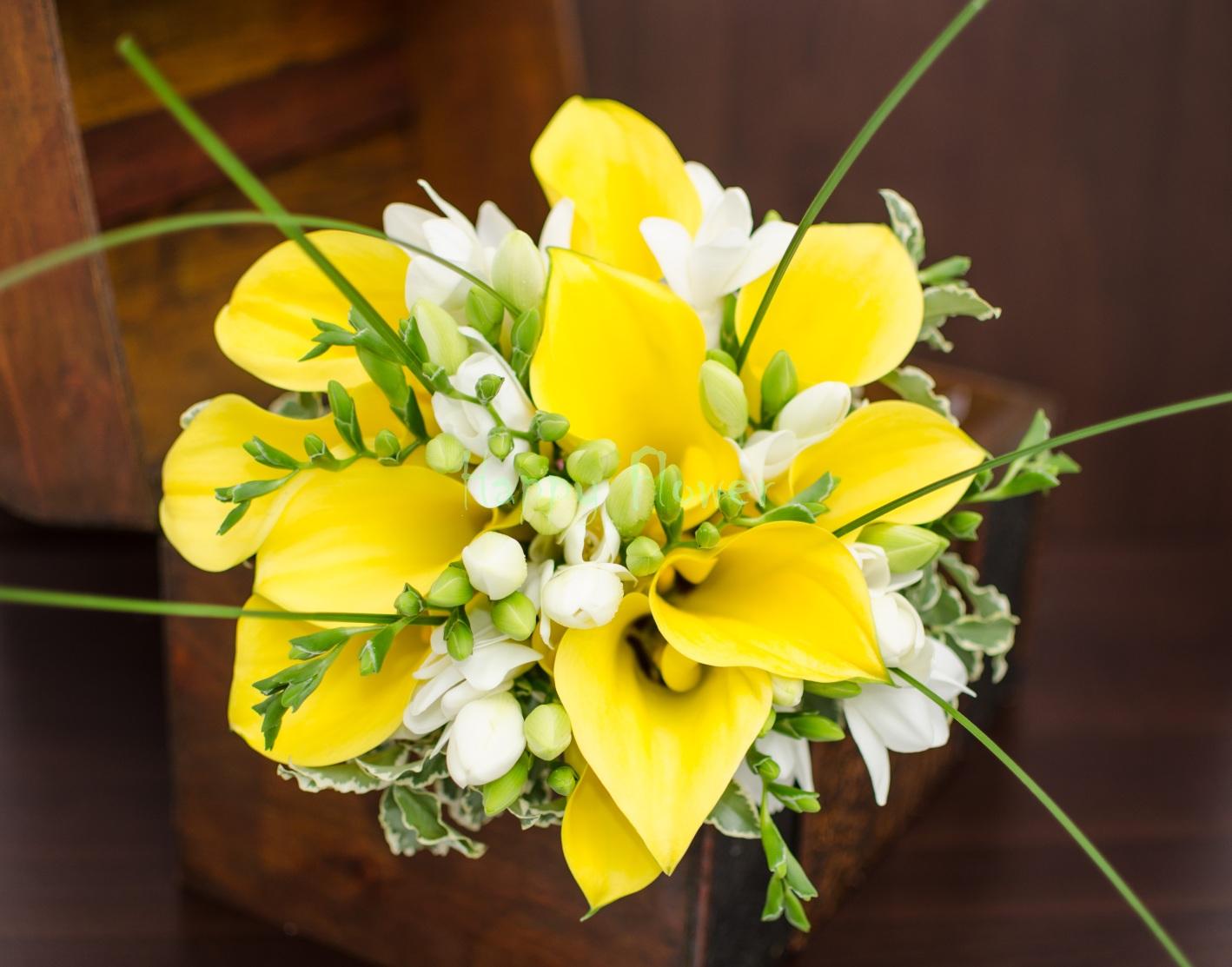Buchet Mireasa Cale Galbene Frezii Albe Happy Flower Florarie Online