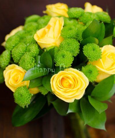 buchet-cununie-civila-trandafiri-galbeni-santini-verde