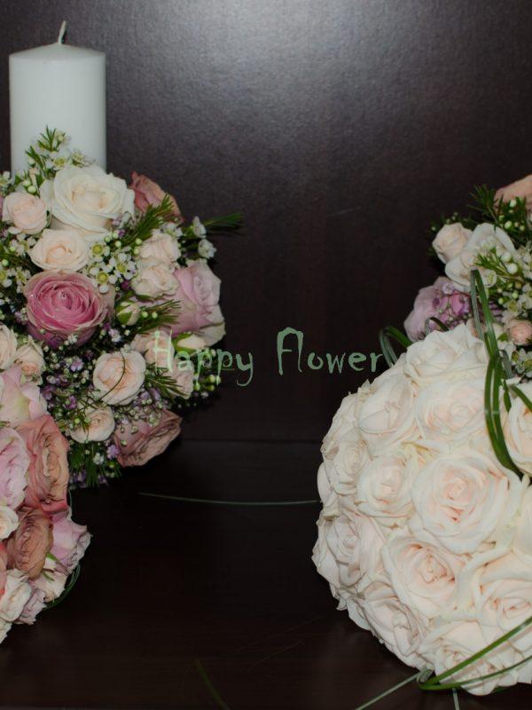Buchet-mireasa-19-trandafiri-crem-beargrass