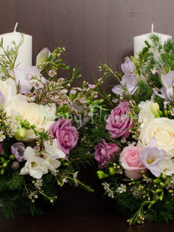 Lumanare-cununie-30cm-trandafiri-mov-trandafiri-albi-waxflower