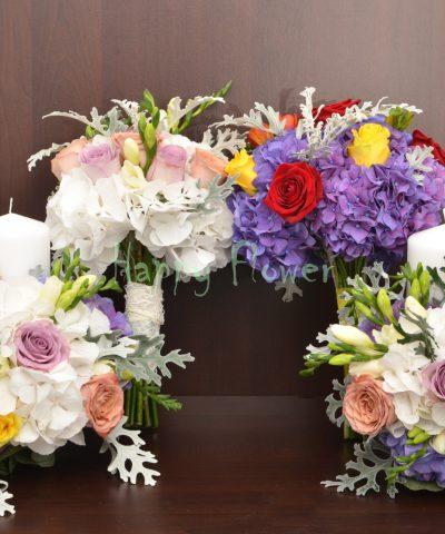 Lumanare-scurta-nunta-25cm-hortensii-albe-trandafiri-seneccio