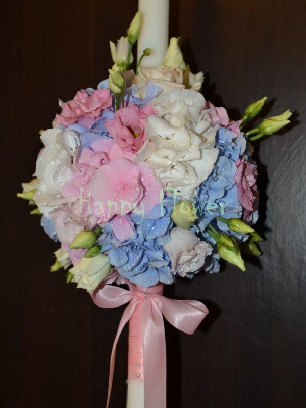 Lumanare-botez-hortensii-pastel