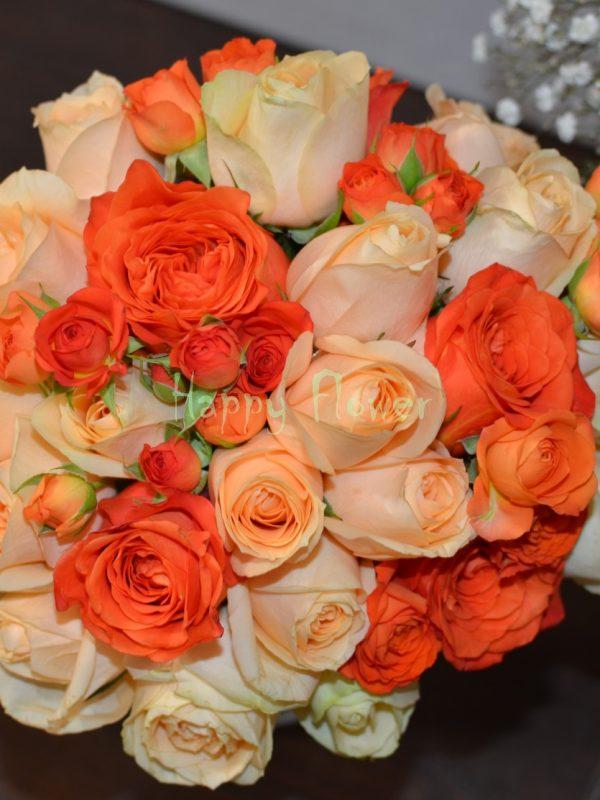 Buchet-mireasa-trandafiri-piersica-trandafiri-corai
