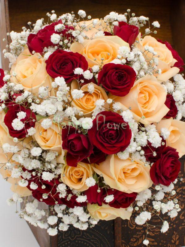 Buchet-mireasa-trandafiri-piersica-miniroze-grena-floarea-miresei