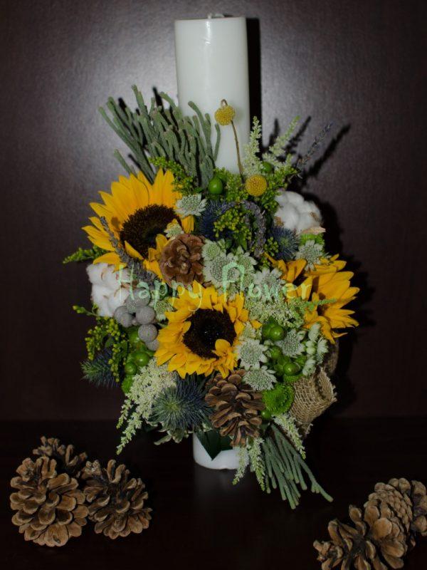 Lumanare-botez-floarea-soarelui-bumbac-si-flori-de-camp