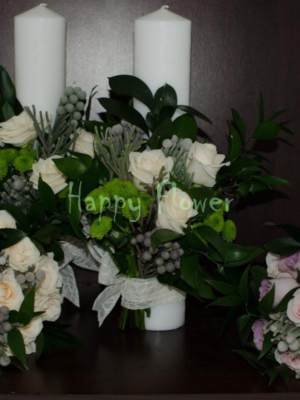 Lumanare-cununie-40cm-trandafiri-crem-brunia-santini-verde