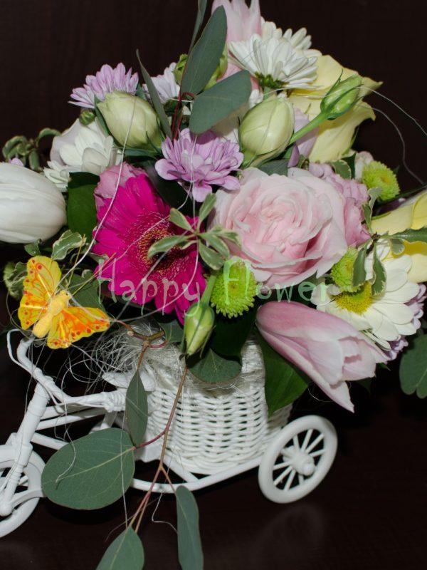 Tricicleta -lalele-trandafiri-minigerbera-crizanteme